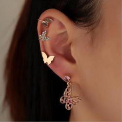 E-6123 New Boho Gold Metal Pink Crystal Butterfly Sun Moon Pendant Drop Earrings for Women Summer Beach Party Jewelry