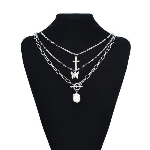 N-7538 Women Stainless Steel Silver Gold Plated Pearl Butterfly Tennis Choker Jewelry Charm Butterfly Necklace