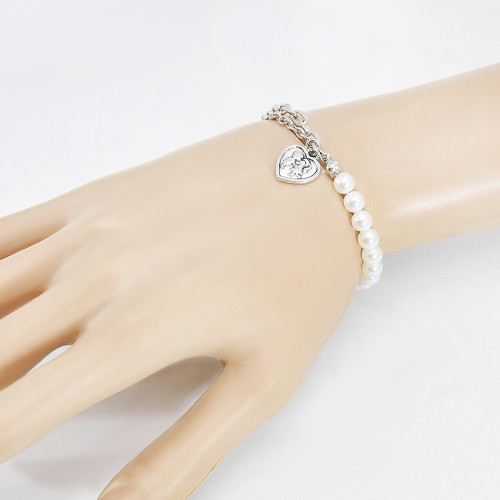 N-7543 New Fashion Silver Butterfly Heart Pendant Metal Chain Pearl Necklace Waist Chain Bracelet Set For Women Summer Beach Party Sexy Jewelry Set
