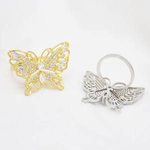 R-1543 Romantic Gold Silver Color Butterfly Cubic Zircon Wedding Open Finger Rings for Women Bridal Party Jewelry