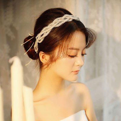 F-0867 New handmade rice bead twisted flower inlaid diamond bridal headdress wedding wedding headdress hair accessories bridal jewelry