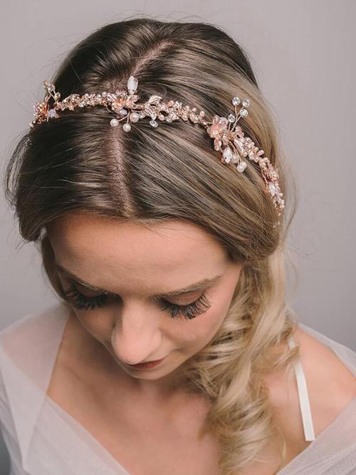 F-0783 Elegant Rose Gold Flower Crystal Pearl Headbands Bridal Party Wedding Hair Accessories