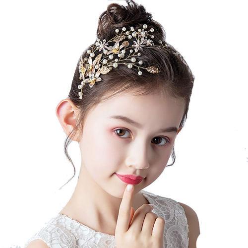 F-0769 Fashion Gold pear crystal leaf flower hair band wedding dress accessories bridal accessories