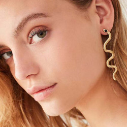 E-6125 European And American Fashion Women's Gold And Silver Personalized Earrings Snake-shaped Hollow Pattern Earrings Jewelry