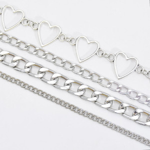 N-7541 European and American punk style simple silver gold chain aluminum chain multi-layer necklace street hip hop fashion jewelry