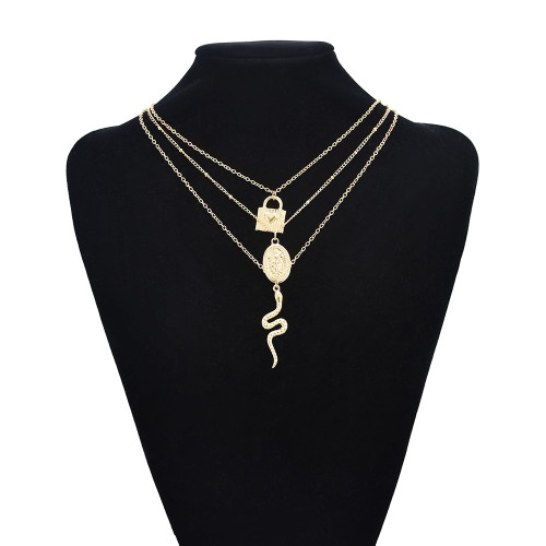 N-7544 Punk Gold Color Crystal Snake Lock Heart Pendant Necklaces For Women Summer Holiday Party Jewelry