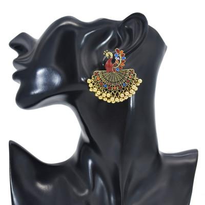E-6126 Retro Indian Jewelry Jhumka Jhumki Drop Earrings Bohemian vintage golden peacock open screen bells tassels Indian earrings