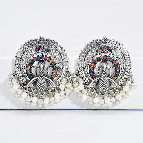 E-6127 Vintage Indian Jewelry Pendant Earrings Bohemian Style Ladies Handmade Jewelry Crystal Hollow Jewelry Earrings