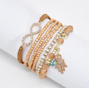 B-0971 Set of 6 Bracelets Acrylic Beads Alloy Bracelet for Woman Bangle