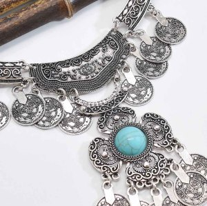 N-7546 Gypsy vintage silver carved coin tassel inlaid gemstone necklace for women Bohemian Indian ethnic style coin necklace jewelry