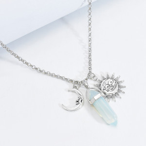 N-7548 European and American fashion gemstone necklace women's handmade tassel overlapping necklace