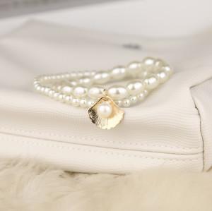 B-1114 2Pcs/Set Elegant Shell Pendant Pearl Beads Charm Anklet for Women Boho Summer Beach Foot Bracelet Jewelry