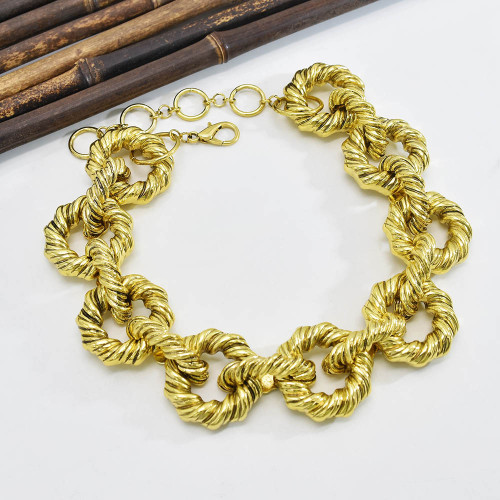 N-7547 B-1116 Vintage Metal Punk Choker Necklace Bracelet Set Collar Statement Alloy Link Necklaces for Women Jewelry Gifts