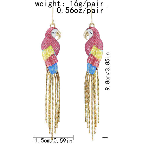 E-6128 Fashionable Color Parrot Metal Thin Chain Tassel Long Animal Earrings For Women Street Shooting Show Personality Trend Earrings Jewelry