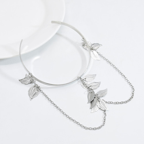 B-1115 New trend fashion European and American gold and silver handmade silver leaf armband ladies jewelry