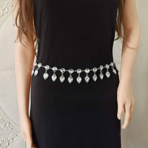 N-7549 Fashion Women Water Drop Crystal Belly Dance Waist Chains Statement Body Chains Summer Party Jewelry