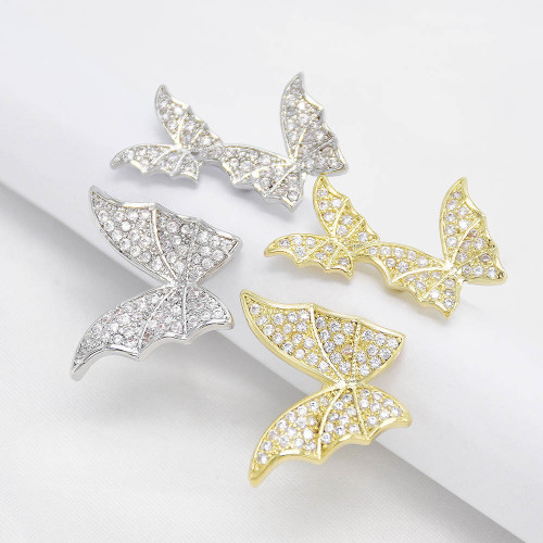 R-1547 Fashion Gold Silver Color Butterfly Cubic Zircon Wedding Open Finger Rings for Women Bridal Party Jewelry