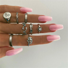 R-1546 New Bohemian Fashion Ring Set Hollow Heart-shaped Snake-shaped Carved Ring Ladies Fashion Jewelry
