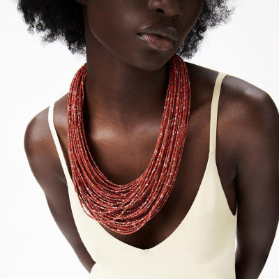 N-7551 Bohemian ethnic style light brown rice bead beaded multi-layer necklace African tribe fashion sexy necklace jewelry