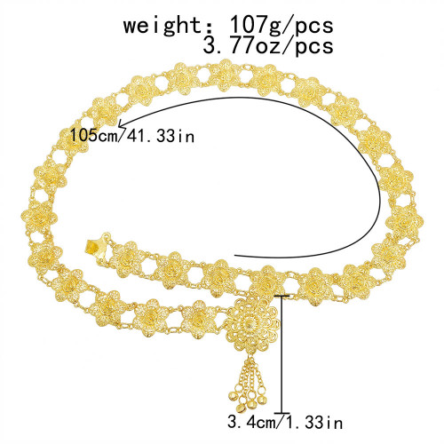 N-7545 New Women Gold Metal Belly Waist Chains Carved Flower Festival Dance Chain Arab Body Jewelry