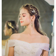 F-0891 Fashion Vintage Gold Crystal Leaf Headband Earring Sets for Bridal Wedding Hair Accessories