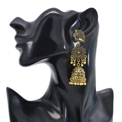 E-6132 Indian Jewelry Golden Silver Sunflower Peacock Lantern Pendant Bell Tassel Jhumka Jhumki Drop Earrings Golden Vintage Birdcage Bell Earrings Gypsy Jewelry