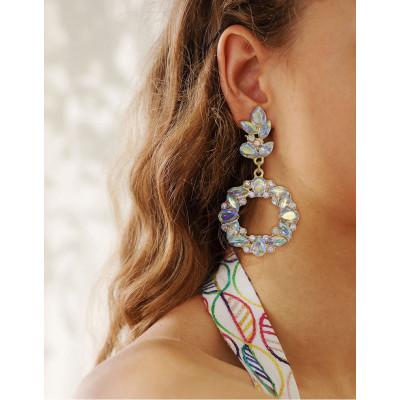 E-6137 Bohemian Fashion Girl Multicolor Diamond Handmade Earrings Personality Irregular Gemstone Earrings