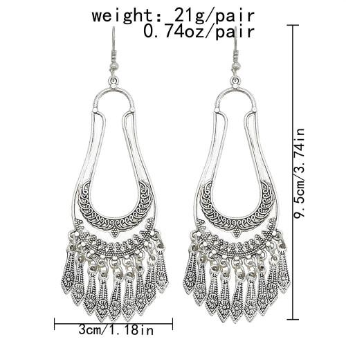 E-6136 Vintage Silver Metal Big Geometric Drop Dangle Earrings for Women Boho Ethnic Indian Tribal Party Jewelry