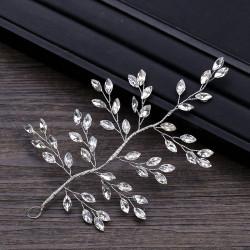 F-0893 European and American shiny rhinestone hand-woven hair accessories leaf-shaped bridal headdress