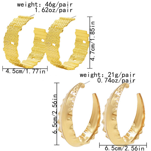 E-6138 2 styles European and American exaggerated face gold silver open geometric earrings fashion simple metal earrings daily street jewelry