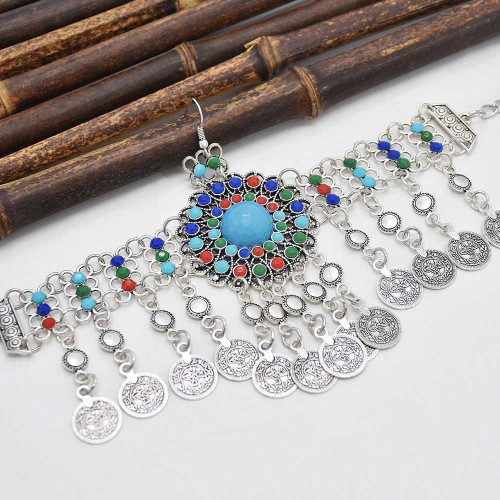 F-0894 Fashion Women Colorful Beads Coin Tassel Belly Dance Head Chain Costume Gypsy Maang Tikka Jewelry Accessories