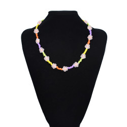 N-7556 Boho Flower Heart Colorful Acrylic Beads Statement Choker Y2K Necklaces for Women Girl Summer PartyJewelry