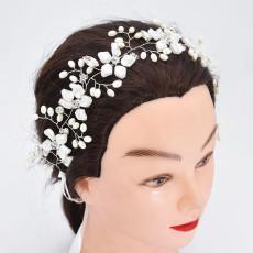 F-0898 Fashion Wedding Elegant Silver Flower Crystal Pearl Headbands Bridal Party Wedding Hair Accessories
