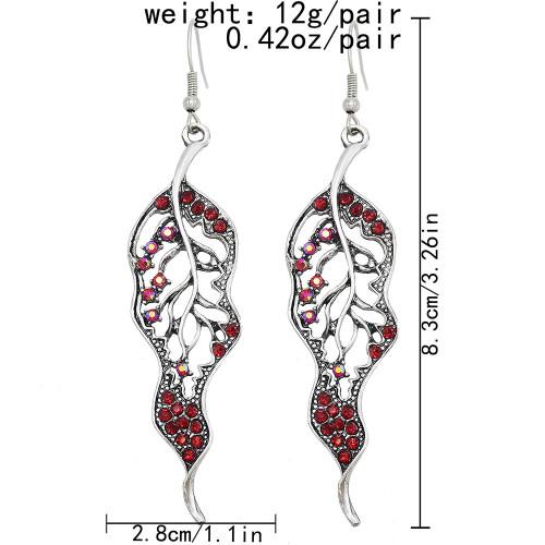 E-6140 New Retro Silver Metal Leaf Hollow Diamond Earrings For Women Simple Fashion Stem And Leaf Long Drop Earrings Trendy Jewelry
