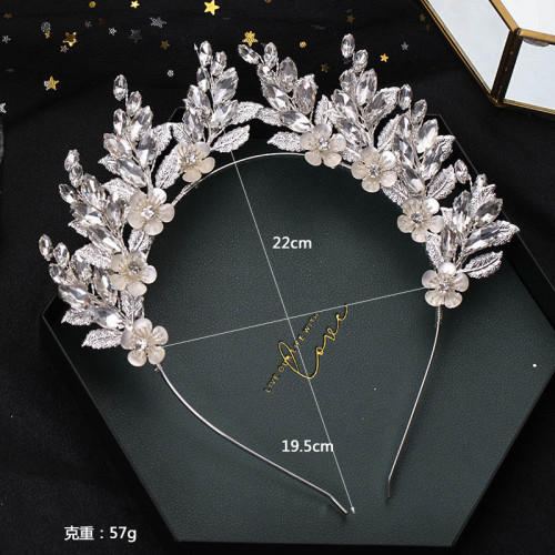 F-0899 Luxury Silver Color Crystal Flower Leaf Hairbands Crowns Tiaras for Bridal Wedding Hair Accessories