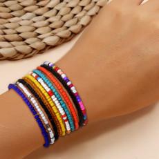 B-1124 Multicolors Boho Handmade Elastic Resin Beaded Flower Bracelets Anklets for Women Summer Party Jewelry