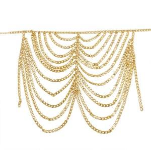 N-7561 European and American fashion gold silver metal chain tassel waist chain body chain sexy bikini skirt beach accessories
