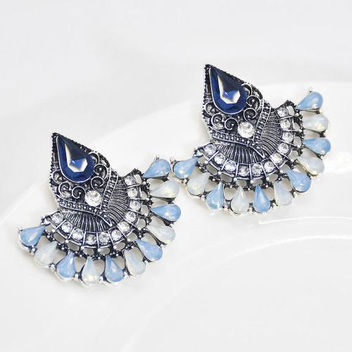 E-6145 Bohemian Bollywood Oxidized Jewellery Ethnic Silver Afghan Tassel Rhinestone Earrings Flower Jhumka Indian Earrings