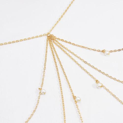 N-7563 New European and American fashion golden metal chain tassel waist chain pearl chain sexy bikini dress beach accessories