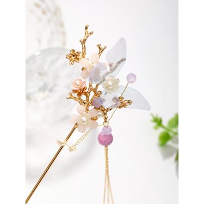 F-0901 Chinese style Hanfu retro butterfly flower purple metal hairpin metal chain tassel gourd pearl pendant palace step shake hair fork