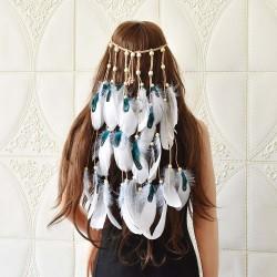 F-0902 Bohemian Style Feather Headband Hair Ornament Beads Feather Headdress Handmade Jewelry Headdress Accessories