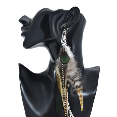 E-6148 4styles of bohemian ethnic style zebra pattern pure natural feather long earrings fashion geometric rice bead chain feather tassel earrings