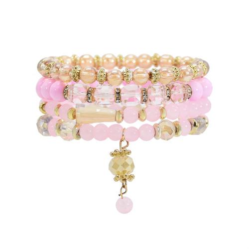 B-1126 4Pcs/Set Handmade Acrylic Beads Statement Bracelets for Women Boho Holiday Party Jewelry Gift