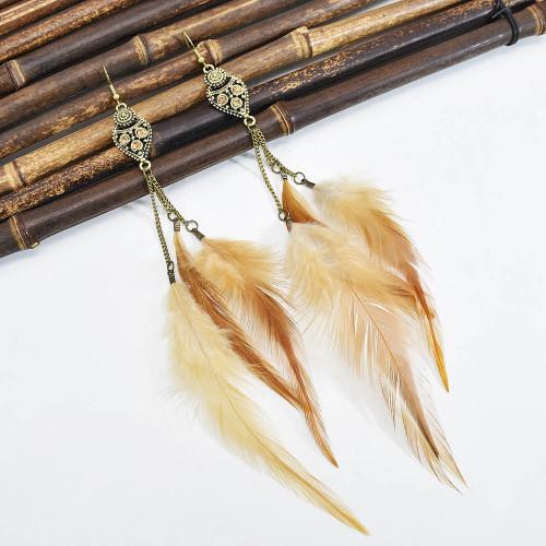 E-6150 Bohemian Stylish Girl Statement Gold Metal Tassel Rhinestone Beads Drop Dream Catcher Women Feather Earrings
