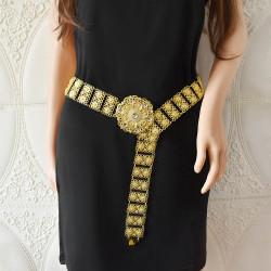 N-7568 New style ladies gold metal chain belt carved flower festival crystal flower-shaped head Arabian body dance waist chain