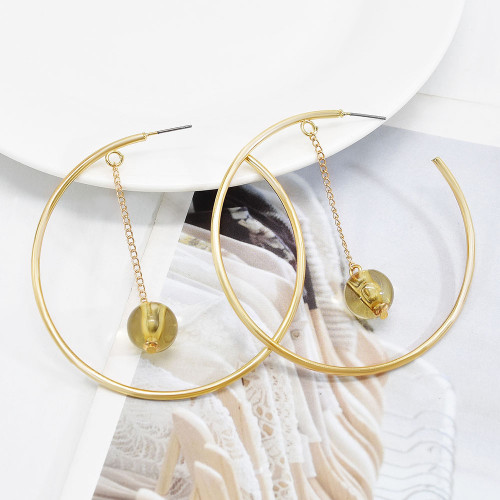 E-6152 Big Circle Gold Metal Hoop Earrings for Women Boho With Round Beads Summer Holiday Party Jewelry Gift