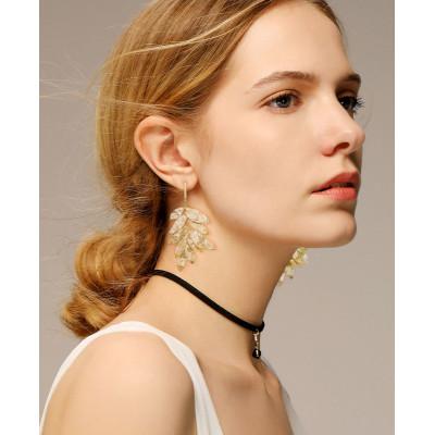 E-6153 Fashion Gold Plated Hawaiian Jewelry Monstera Deliciosa Leaf Wholesale Designer Popular Brands Flower Earrings