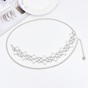 N-7571 New Fashion Simple Golden Silver Heart-Shaped Metal Chain Waist Chain For Women Bohemian Adjustable Body Chain Jewelry Gift