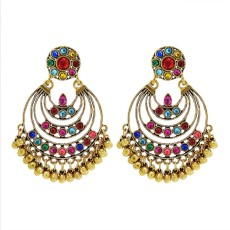 E-6155 Vintage Colorful Crystal Bells Tassel Indian Jhumka Drop Earrings for Women Boho Ethnic Festival Party Jewelry
