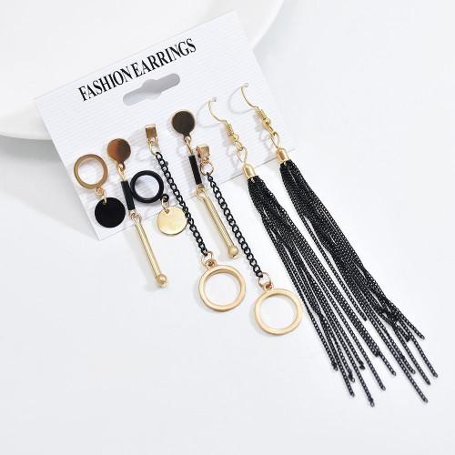E-6157 4 Pairs Simple Dangle Earrings Set for Women Long Tassel Chain Hoop Earrings Gold Black Colors Earrings